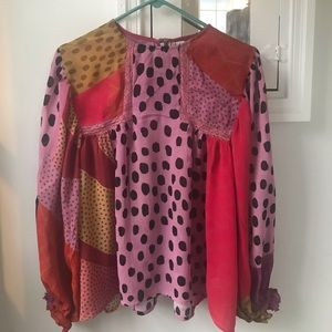Colorful Puffy Sleeve Anthropologie Blouse